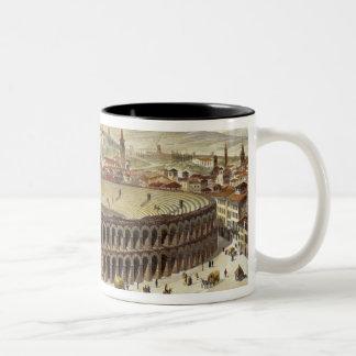 Vista del Amphitheatre romano, Verona, b grabado Taza De Dos Tonos