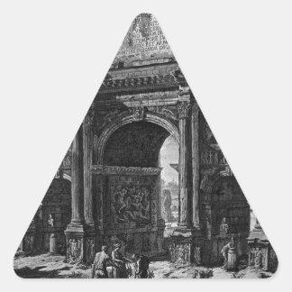 Vista del arco de Constantina de Juan Battis Pegatina Triangular