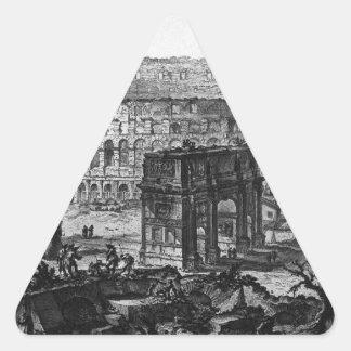 Vista del arco de Constantina y del Flavian Pegatina Triangular