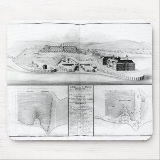 Vista del astillero en Plymouth, 1608 Tapetes De Raton