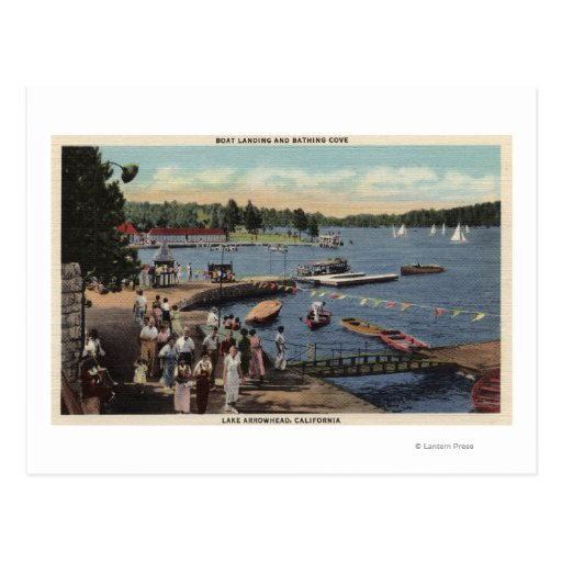 Vista del aterrizaje del barco, bañando la tarjetas postales