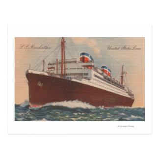 Vista del barco de cruceros de S.S. Manhattan Tarjeta Postal