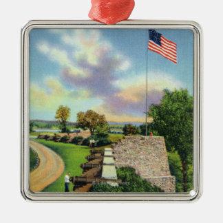 Vista del bastión de la bandera y de la pared del ornamente de reyes
