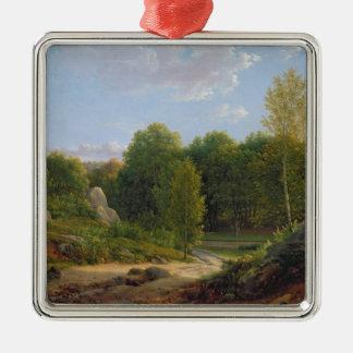 Vista del bosque de Fontainebleau, 1829 Adorno Cuadrado Plateado