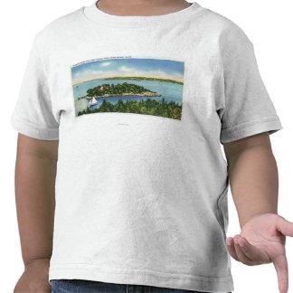 Vista del botón y de Long Island de la calabaza Camisetas