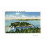 Vista del botón y de Long Island de la calabaza Postales