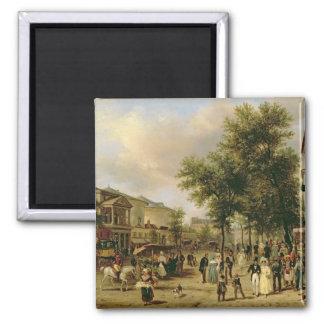 Vista del bulevar Montmartre, París, 1830 Imán Cuadrado