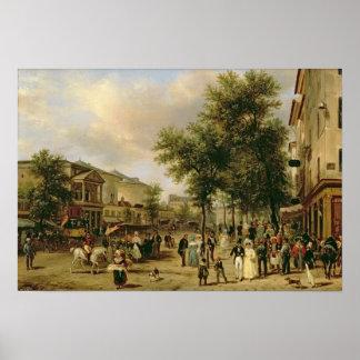 Vista del bulevar Montmartre, París, 1830 Póster
