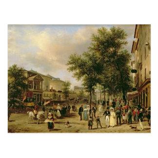 Vista del bulevar Montmartre, París, 1830 Tarjetas Postales