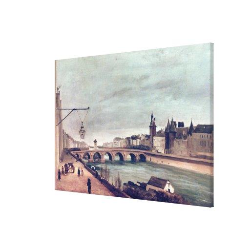 Vista del cambio del au de Pont de Quai de Impresiones De Lienzo