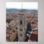 Vista del campanario de Giotto (di del campanil Póster