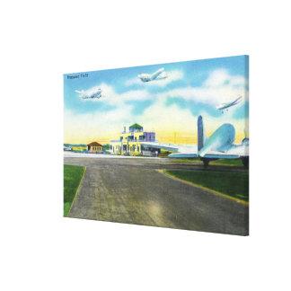 Vista del campo de Brainard, aviones que aterrizan Impresiones De Lienzo