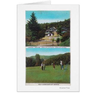 Vista del campo de golf, argumentos del croquet, c tarjeta de felicitación