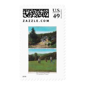 Vista del campo de golf, argumentos del croquet, sello