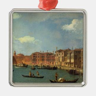 Vista del canal de Santa Chiara, Venecia Adorno Cuadrado Plateado