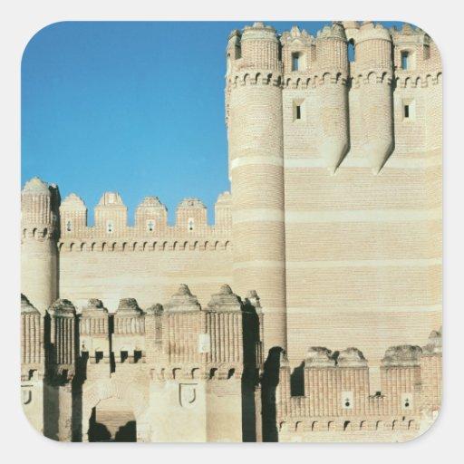 Vista del castillo, c.1453 construido calcomania cuadradas personalizadas