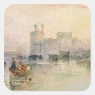 Vista del castillo de Carnarvon Pegatina Cuadrada