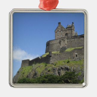Vista del castillo de Edimburgo, Edimburgo, Adorno Cuadrado Plateado