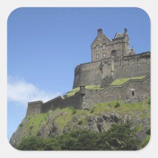 Vista del castillo de Edimburgo, Edimburgo, Escoci Calcomania Cuadradas