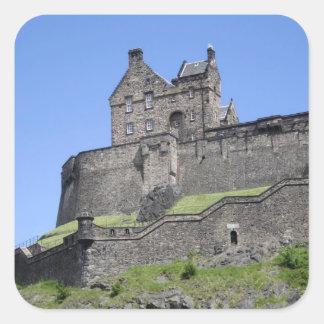 Vista del castillo de Edimburgo, Edimburgo, Pegatina Cuadrada