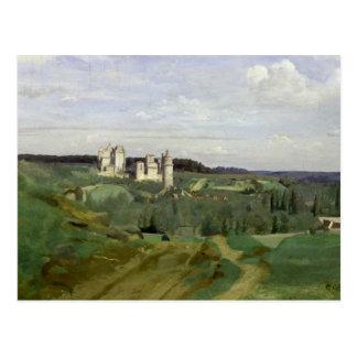 Vista del castillo francés de Pierrefonds c 1840- Tarjeta Postal