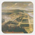 Vista del castillo francés y de los jardines de la pegatina cuadrada