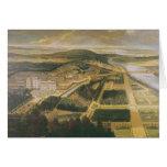 Vista del castillo francés y de los jardines de la tarjeta de felicitación