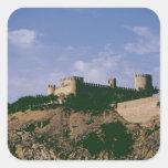 Vista del castillo pegatina cuadrada