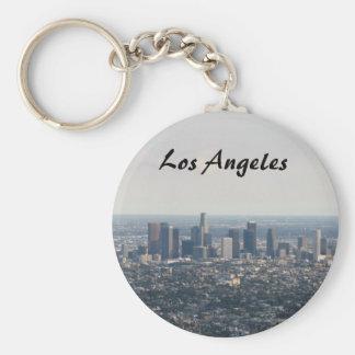 Vista del centro de la ciudad, Los Ángeles Llavero Redondo Tipo Pin