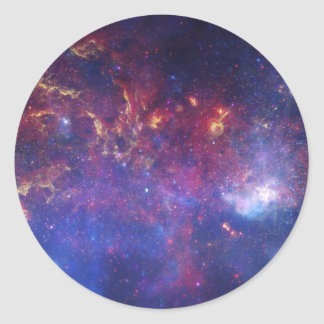 Vista del centro de la galaxia de la vía láctea etiquetas redondas