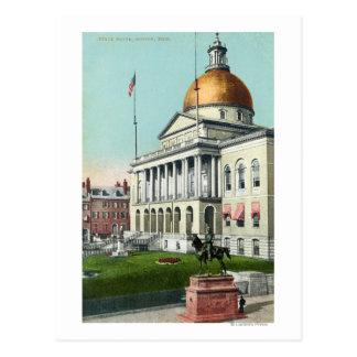 Vista del césped delantero de la casa del estado tarjetas postales