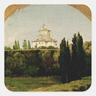 Vista del chalet Medici, Roma Pegatina Cuadrada