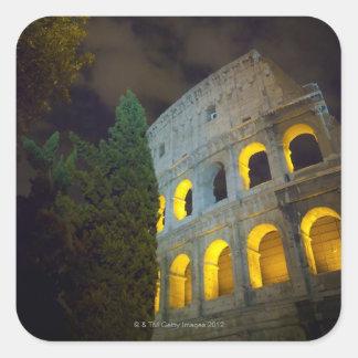 Vista del Coloseum en Roma en la noche Pegatina Cuadrada
