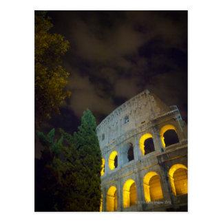 Vista del Coloseum en Roma en la noche Tarjeta Postal