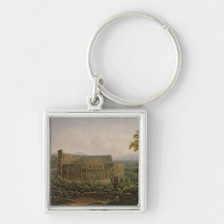 Vista del Colosseum de la colina de Palatine Llavero Cuadrado Plateado