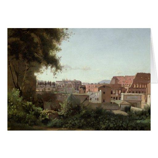 Vista del Colosseum de los jardines de Farnese Tarjeta De Felicitación