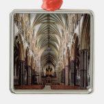 Vista del cubo, construida 1215-55 adorno navideño cuadrado de metal