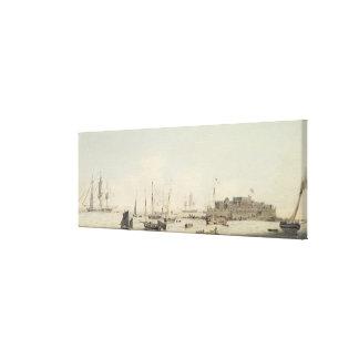 Vista del cucurucho del castillo, Guernesey, con e Impresiones En Lona