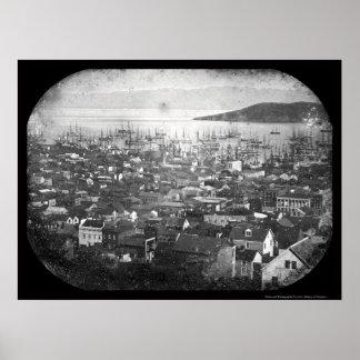 Vista del Daguerreotype 1855 del puerto de San Fra Póster