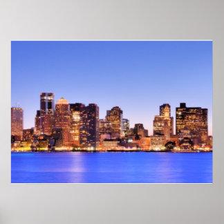Vista del distrito financiero de Boston céntrica Póster