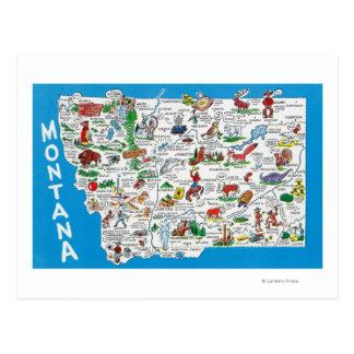 Vista del estado con los dibujos animados puntos tarjeta postal