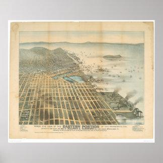 Vista del este de San Francisco, CA (1529A) Póster