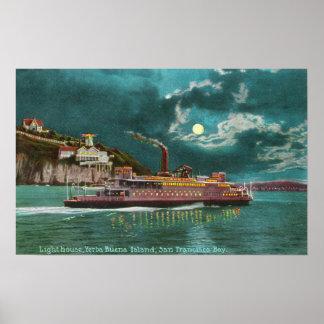 Vista del faro de la isla de Yerba Buena en la noc Posters