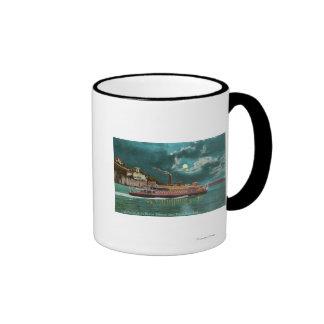 Vista del faro de la isla de Yerba Buena en la noc Taza A Dos Colores
