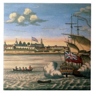 Vista del fuerte George, con la ciudad de Nueva Yo Tejas Cerámicas
