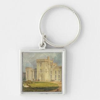 Vista del Hampton Court del noroeste, c.1806 Llavero Cuadrado Plateado