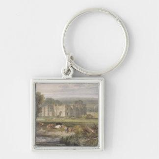 Vista del Hampton Court, Herefordshire, del sou Llavero Cuadrado Plateado