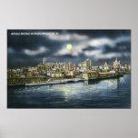 Vista del horizonte de Albany en la noche Poster