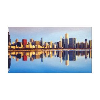 Vista del horizonte de Chicago con la reflexión Impresión En Lienzo