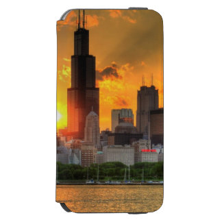 Vista del horizonte de Chicago de Adler Funda Billetera Para iPhone 6 Watson